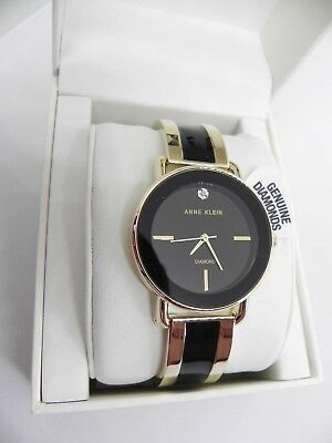 New ANNE KLEIN AK/2812BKGB Gold Tone Black Genuine Diamond Chip Women's Watch