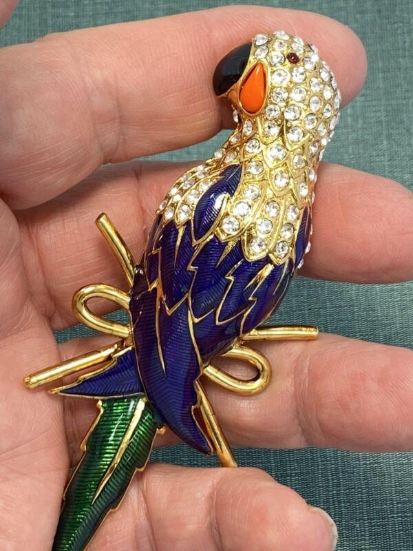 I am Edgar Berebi Vintage Jewelry Blue Parrot   Brooch Pin  ..Gold Plate