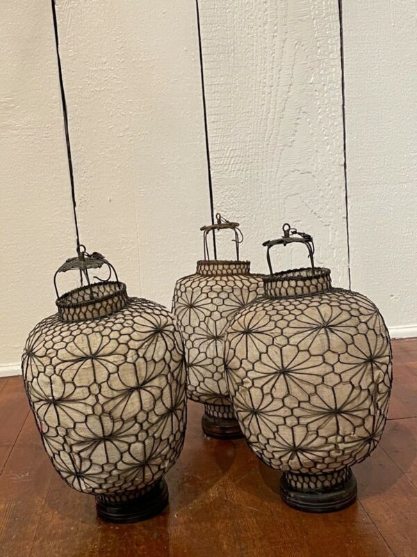 """vintage Chinese Heibe lanterns hand wired and fabric 13-14""""hx9""""w"""