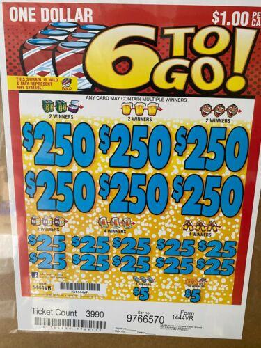 """6 to Go"" 5 Window Pull Tab 3990 Tickets  Free Ship USA 48"