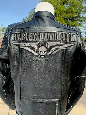 Harley Davidson Men's SOULESS Winged Skull Leather Jacket Large Willie G
