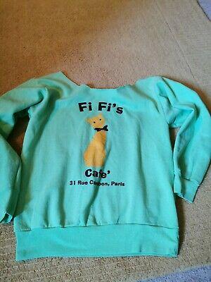 Jet John Eshaya Green Off The Shoulder Sweatshirt Top With Fi Fi's Cafe Cat M
