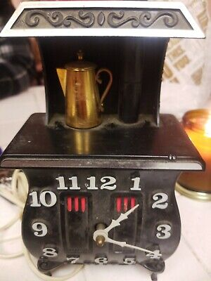 Vintage Kitchen Wood Stove Shaped Wall Electric Clock 9x3x5