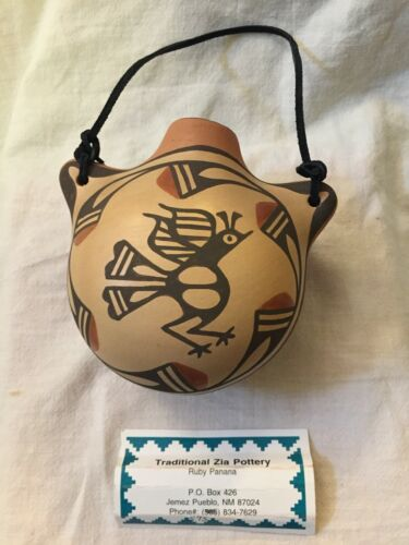 """Zia Pueblo, Signed Ruby Panana Polychrome Pottery Roadrunner Water Jug 5"""" dia."""