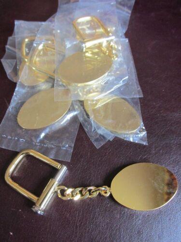 Wholesale Lot of 6 High Polish Gold Tone Unisex KeyChains Key Rings Oval Shape