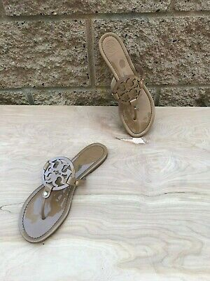 Tory Burch Miller Thong Sandal , Dark Sand Patent Leather , Size 11 M