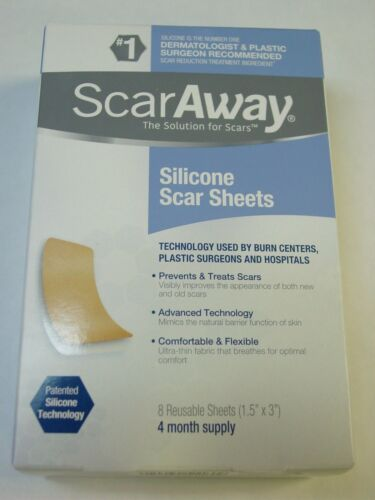 """ScarAway Silicone Scar Sheets (1.5"""" x 3"""") 8 Sheets NEW Exp 05/2021"""