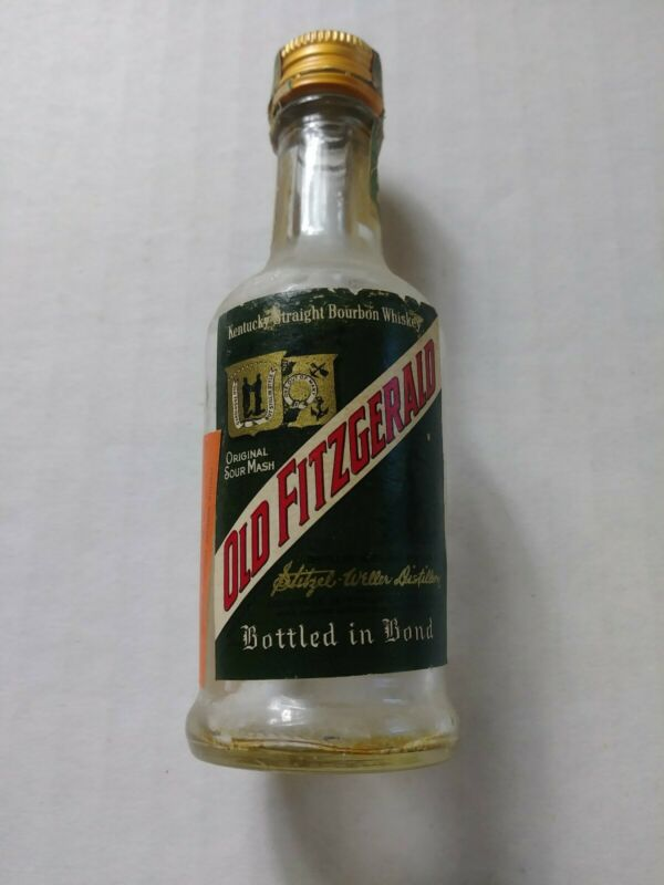 EMPTY Vintage Old Fitzgerald Whisky American Airlines Mini Miniature Bottle Tax