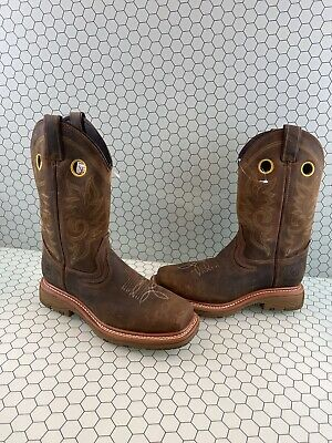 Double H Elijah Brown Leather Comp Toe Pull On Work Boots Men's Size 8 D