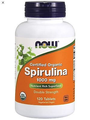 NOW Foods - Spirulina Certified Organic 1000 mg 120 Tabs FAST FREE1st Class SHIP 120 Tabs Now Foods