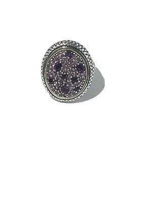 Effy 18K Yellow Gold and Sterling Silver Pink Sapphire Amethyst Ring, Size 5 1/4 Amethyst Pink Sapphire Ring