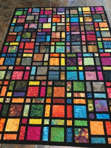 Batik Stained Glass Windows Twin Quilt—63  x 89 1/2 inches