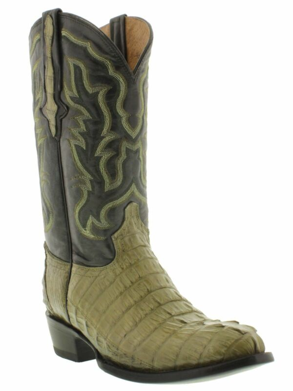 Mens, Green, Crocodile, Skin, Leather, Cowboy, Boots, Western, Dress, Round, Toe, Size, 13.5
