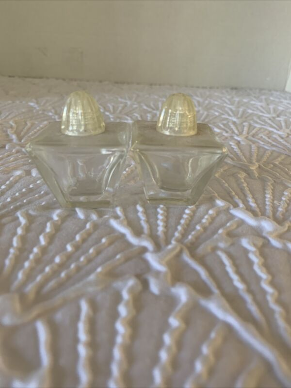 Small Pyramid Crystal Cut Glass Salt & Pepper Shaker Home Decor Collectables