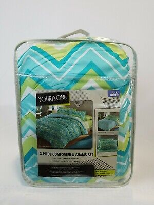 Your Zone 3 Piece Full / Queen Size Comforter and Pillow Sham -