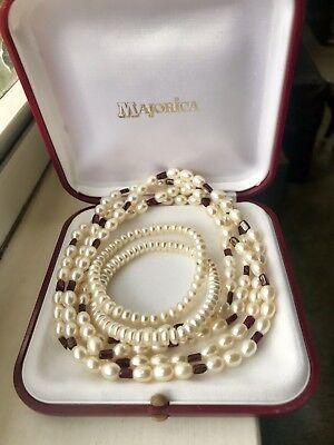 Freshwater Pearl and Garnet Necklace with Bracelet Set NEW (Garnet Set Bracelet)