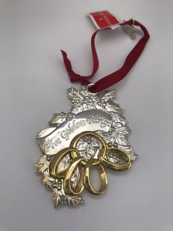 Waterford Silverplate 12 Days Christmas FIVE GOLDEN RINGS Holiday ORNAMENT EUC