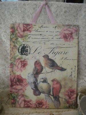 "Shabby Chic / Vintage / French Birds and Roses Hanging Plaque 8"" x 10"""