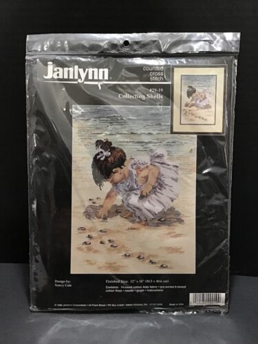 Cross Stitch Kit ~ Janlynn Girl Collecting Sea Shells Oceans