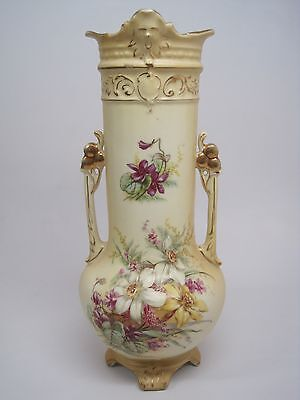 "Antique Vintage RH Royal Wettina Hand Painted Handled Vase Urn Austria 11.5"""