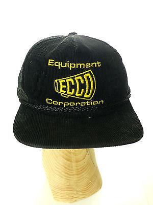Vintage ECCO Equipment Corporation Black Corduroy Trucker Mesh Hat Cap Ecco Cap