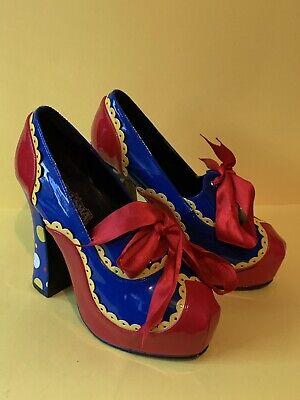 Sexy blue red yellow patent creme egg clown Mr tumble platform heels FUNTASMA