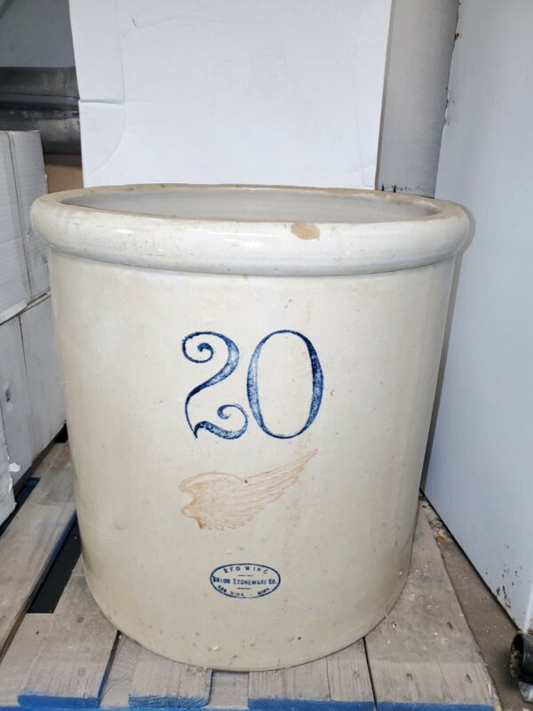 """Antique 20 Gallon Red Wing Crock – Large Wing Cream Color 19"""" high 19.5"""" dia."""