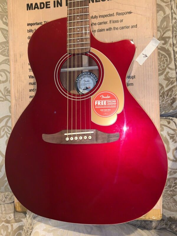 Fender Newporter California Series Acoustic Guitar in Candy Apple Red
