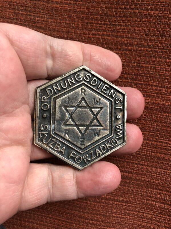 STAR OF DAVID JEWISH POLICE BADGE GERMAN OCCUPIED POLAND MINT MARKED