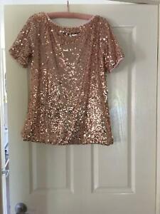 Pink sequin ladies top - size M - 12-14