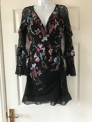 Floral Print Panel (New  Lipsy Blac  Floral Print  Lace Panel Wrap Dress Size  8  bnwt  £58)