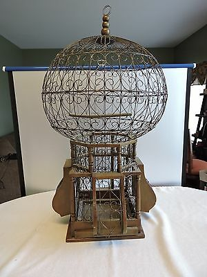 "Huge Vintage Victorian Style Wood and Wire Spherical Sphere Bird Cage  34"" Tall"