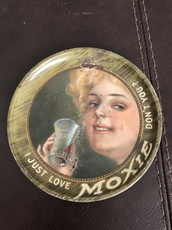 """Vintage Moxie Tip Tray - """"I Just Love Moxie, Don't You"""" Rare Antique"""