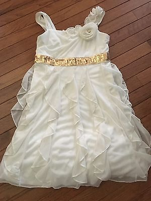 Beautiful Girl's Fancy White Ruffle Dress with Gold Accents ~ 12 ~ Nice!!