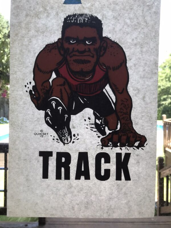 Vintage Track Running Runner Iron On T-Shirt Heat Transfer Collectible
