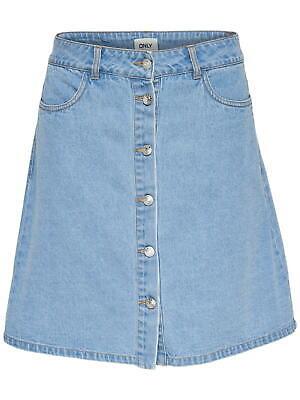 Blaue Jeans Kleidung (Only Damen-Rock Jeans Rock OnlFarrah kurz blau geknöpft knöpfe hell-blau)
