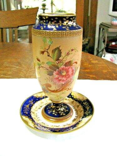 Antique Carlton Ware Vase W/ Saucer-Registry Mark circa 1896-Cobalt,Gold +