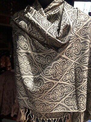 Estilo Vintage Pashmina Negro Oro Metálico Motivo Cachemira Chal