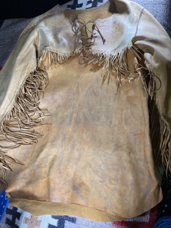 vintage leather dear hide native american shirt hand sewn