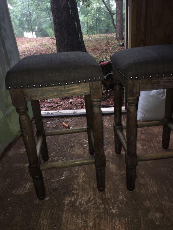 "Bar stools, 24"" Set of 2, wood with Gray Cushion"