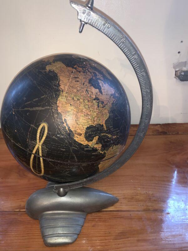 ART DECO Antique Weber Costello Terrestrial Globe Peerless Black Chrome Plane