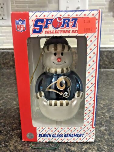 St Louis Rams Snowman Glass Christmas Ornament Topperscot NOS