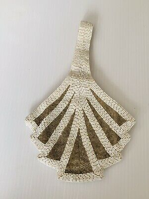 1920s Handbags, Purses, and Shopping Bag Styles Alannah Hill Handbag Beaded Bag White Gold Bugle 1920's Wedding Cocktail Party S $42.55 AT vintagedancer.com
