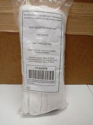 Grainger Men's Cotton Reversible Inspection Gloves PK12 unhemmed CONDOR 4JC97