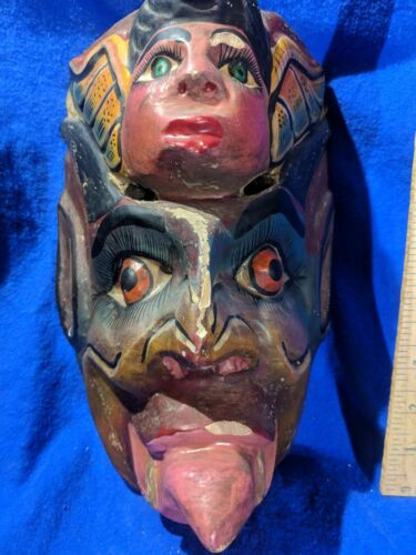 Angel and Demon Mask — Beautifully Painted — Authentic Carved Latin Wood Art