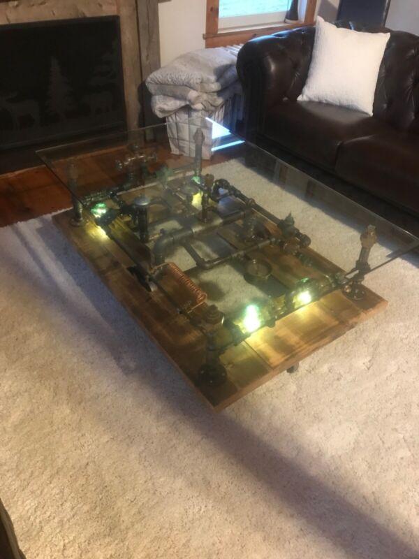 Steampunk Industrial Machine Age Lamp Steam Gauge Table Coffee