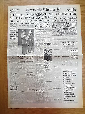 WW2 Wartime Newspaper News Chronicle July 21 1944 Hitler Assassination Attempt
