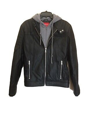 Guess Leather Jacket with Grey Removable Zip Up Hood Men's Size Small