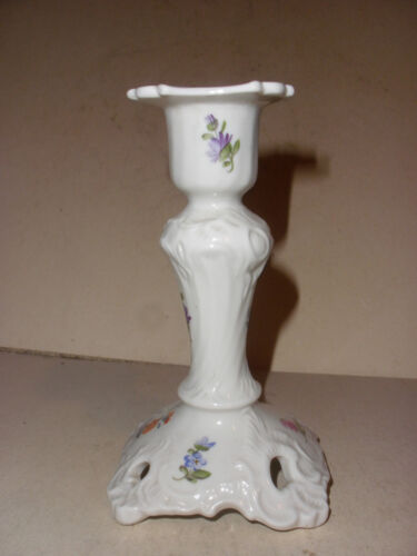 Antique Beautiful Nymphenburg German Porcelain hand painted flowers candlestick