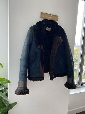 Acne studios shearling jacket - Navy/ Brown/ Black (Size 38)